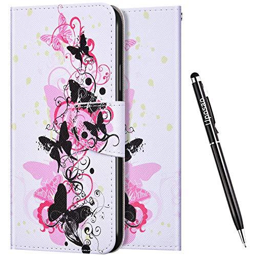 Uposao Kompatibel mit Huawei Honor 8X Hülle Leder Handyhülle Bunt Retro Muster Hülle Klapphülle Brieftasche Schutzhülle Flip Wallet Case Tasche Magnet Kartenfach,Schmetterling