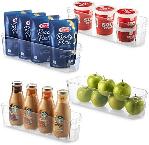 Set Of 4 Refrigerator Organizer Bins Stackable Fridge Organizers for Freezer Kitchen Cabinets product image