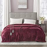 Beautyrest Plush Electric Blanket Throw for Cold Weather Multi-Level Heat Settings Controller, Secure Comfort Low EMF Technology and Auto Shut Off Safety, King, Red
