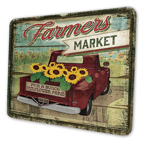 ZMKDLL Cute Mouse Pads with Stitched Edge Farmer Market Sunflower Non-Slip Rubber Mouse Mat for Home Study Office Laptop Computer & PC Kid Gift 10 x 8 Inches, Style9