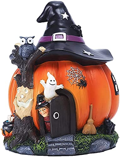 TANKKWEQ Halloween Magic Castle Witch, Bruja de Halloween Adorno de la casa de la Calabaza de la Bruja de Halloween Decoración de Resina Luminosa, Ornamento del Tema de Halloween for la Sala de Estar