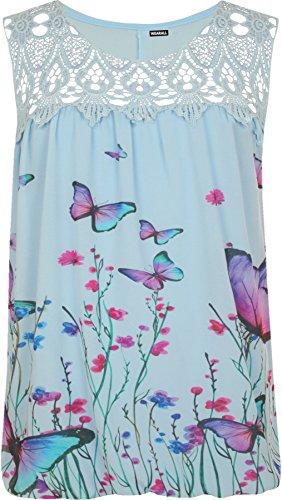 WearAll - Plus Ganchillo Mariposa Imprimir Forrado De Encaje Sin Mangas del Chaleco Top - Azul - 44-46