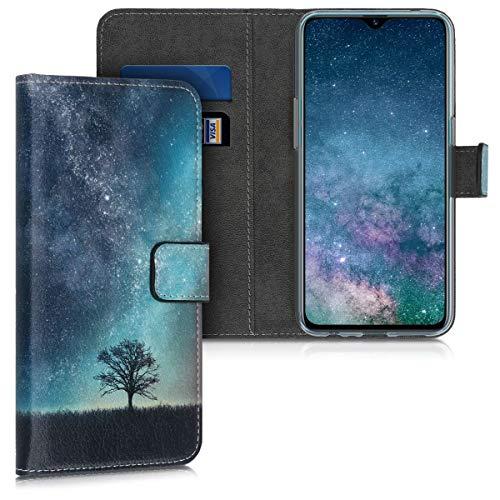 kwmobile Hülle kompatibel mit Realme 5 Pro - Kunstleder Wallet Hülle mit Kartenfächern Stand Galaxie Baum Wiese Blau Grau Schwarz