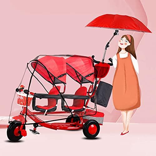 Carretto Pieghevole Carrello Carrello per passeggino gemellare - Doppio triciclo, artefatto da viaggio in bicicletta per bambini leggero multifunzionale per bambini 0-6 anni, con ombrellone e copertur