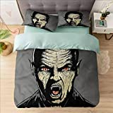 Juego de funda de edredón para cama Queen, vampiro, sed de sangre de demonio enojado, 1 funda de edredón con 2 fundas de almohada hipoalergénicas, de fácil cuidado, suave y duradera.