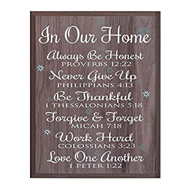 In Our Home Family wedding anniversary Housewarming Gift for husband wife Parents, New Home Christian gift ideas 12 Inches w X 15 Inches By LifeSong Milestones (Salt Oak)