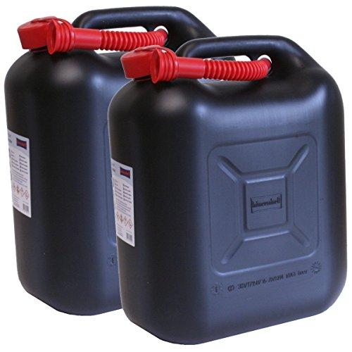 2er Set: 2x Benzinkanister schwarz 20 Liter UN Kraftstoffkanister 20L Made in Germany!