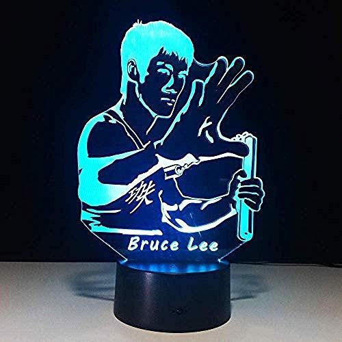 Lámpara 3D Led Lámpara De Mesa De Cabecera Superman De Kung Fu 7 Colores Control Remoto Toque Juguetes Decoración Navidad Regalo De Cumpleaños