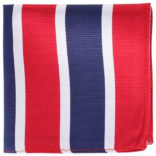 Knightsbridge Neckwear Red/Silver/Navy Striped Silk fazzoletto