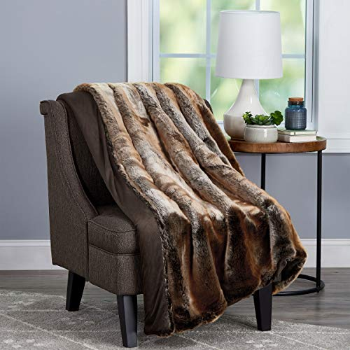 """Lavish Home Amber Brown Premium Zobel Marten Sable Fur Throw Blanket with Faux Mink Back and Gift Box-Luxurious, Soft, Hypoallergenic-60""""x70, 60"""" x 70"""