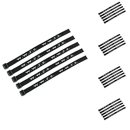 Yleena 25 (2 Dozen Plus 1) WWJD Bracelets - What Would Jesus Do Woven Wristbands Per Pack - Religious Christian WWJD Bracelet for fundraisers Black Color Perfect for Men Women Boys and Girls
