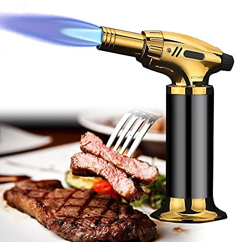 Soplete De Cocina Recargable, Mini Antorcha De Cocina, Llama Ajustable, para Brulée Crema, Postres, Cámping, Soldadura(butano No Incluido),Negro