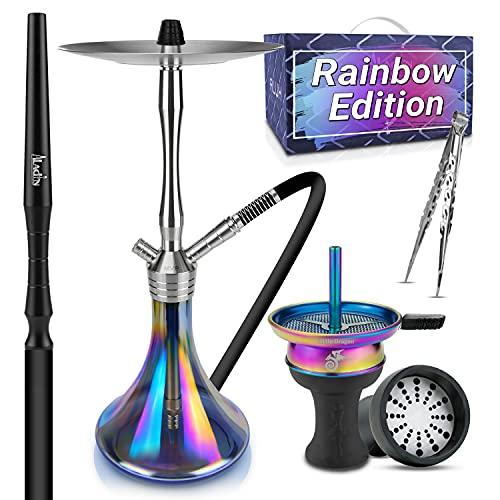 Shisha Set Komplett - Shisha Edelstahl mit hochwertigem Shisha Zubehör Set - Ideales Rauchverhalten & grandioser Durchzug - Edle & robuste Wasserpfeife 61 cm [Rainbow Edition] 100% Kalk- & Rostfrei
