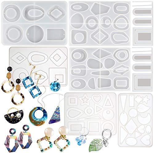 Musykrafties geometrische hars siliconen vormen Set Dangle Hoop oorbellen hanger bedeltjes sieraden gieten benodigdheden 6 tellen
