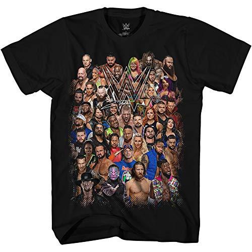 WWE Group Shot John Cena Big Show AJ Styles Daniel Bryan Adult Men's Graphic Tee T-Shirt (Black, Large)