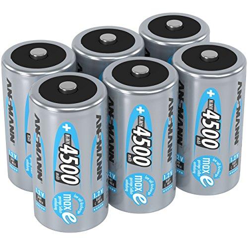 ANSMANN Akku C 4500 mAh NiMH 1,2 V (6 Stück) - Baby C Batterien wiederaufladbar, hohe Kapazität & maxE geringe Selbstentladung für hohen Strombedarf & jahrelangen Einsatz