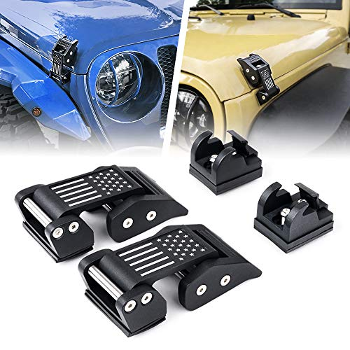 Xprite 2PC Aluminum Hood Latches Catch Kit with U.S. Flag Style for Jeep Wrangler JK JKU 2007-2018 & 2018-2020 Jeep Wrangler JL JLU - Patent Design