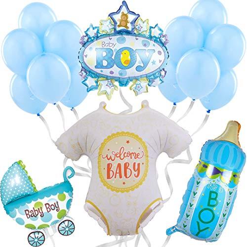 Baby Shower - Palloncini di elio per feste di benvenuto per bambino, confezione da 16 palloncini Baby Shower blu - festa neonato - regalo bambino - nascita - battesimo