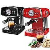 Macchina per caffè macinato e cappuccino 19 bar con manometro Turbotronic Rosso