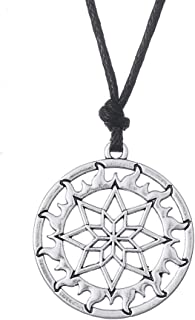 Nordic Style Sun Wheel Flame Totem Slavic Necklace Amulet Jewelry for Men