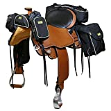 TrailMax 500 Series Deluxe 5-pc Saddlebag System for Horse Trail Riding, with Front Pocket, Rear Saddle Bags, Cantle Bag, Pommel/Horn Pocket & Water Bottle w/Carrying Bag, Black