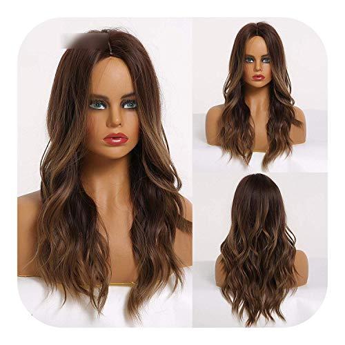 PJPPJH Perruques pour Femmes Cheveux Humains Longs ondulés Brun synthétique avec des Reflets blonds Cosplay Cheveux Fibre Haute température