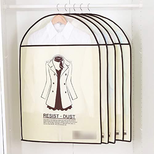 QFFL Sac de compression sous vide Housse anti-poussière, vêtements suspendus transparents pour garde-robe de ménage sac de rangement pour manteau anti-poussière (5 par paquet) Sac de protection