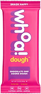 WHOA DOUGH Cookie Dough Bar   Chocolate Chip Cookie Dough   Gluten Free Snack Bars, Dairy Free, Non GMO Healthy Snacks for Kids and Adults, Made with Whole Food Ingredients   10 Bars