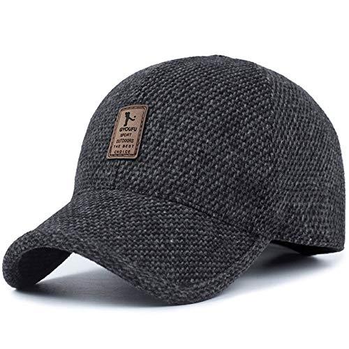 Gorra de béisbol Sombrero de papá de Invierno cálido Gorras Snapback de algodón Engrosado Gorras Ajustadas de protección auditiva para Hombres-Black-54-62cm