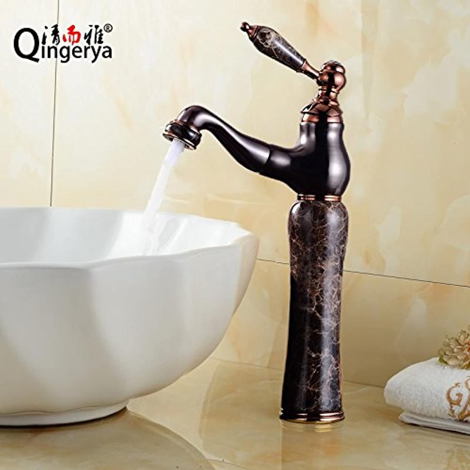 Pengei Tap Basin Mixer Kitchen Sink Mixer Faucet Copper Retractable Pull pink gold Can Be redated, Orp Coffee Jade High