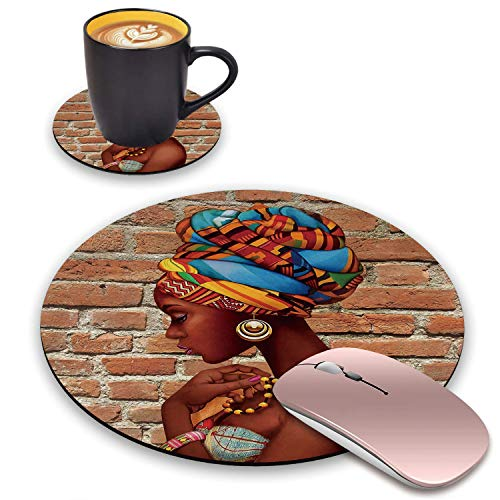 BWOOLL Round Mouse Pad and Coasters Set, African Women Design Mouse Pad, Non-Slip Rubber Base Mouse Pads for Laptop and Computer