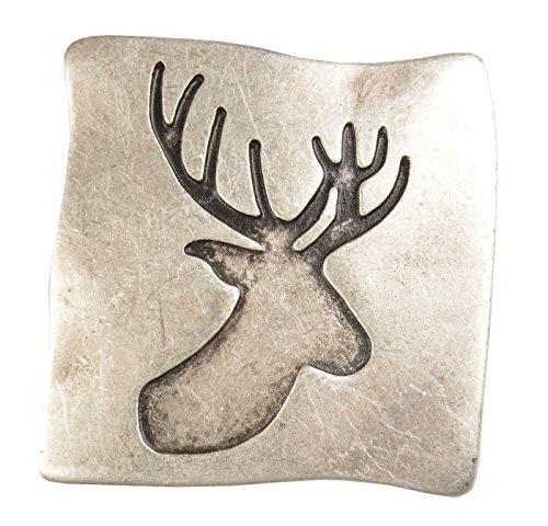Hochwertige Gürtelschnalle für 40 mm Gürtel - Hirsch Jäger Ornament - Gürtelschließe - Farbe: silber antik
