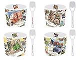Eisbecher Set im Geschenkkarton/Retrodesign/Porzellan / 8-teilig mit 4 Bechern und 4 Löffel (Fifites)