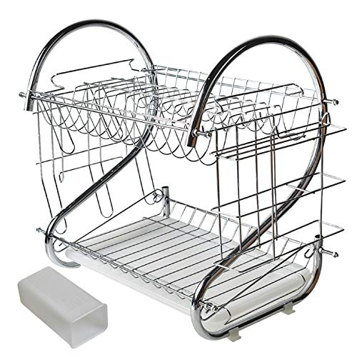 AISENPARTS Escurridor de Platos extraíble Blanco de 2 Niveles de Acero Inoxidable Bandeja de Goteo Estante de Secado con escurridor Cubiertos Palillos y Copas Vino Portavasos para Cocina