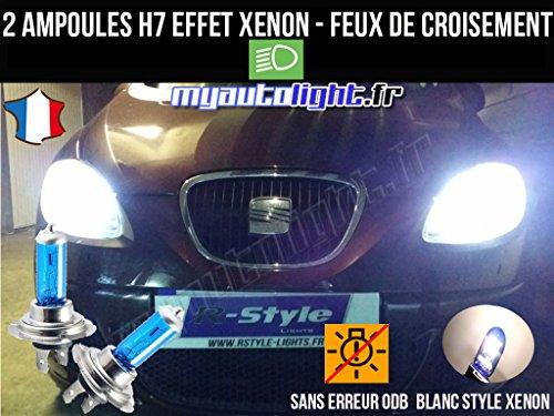 MyAutoLight- Pack ampoules H7 blanc xenon feux croisement-code pour LEON 2