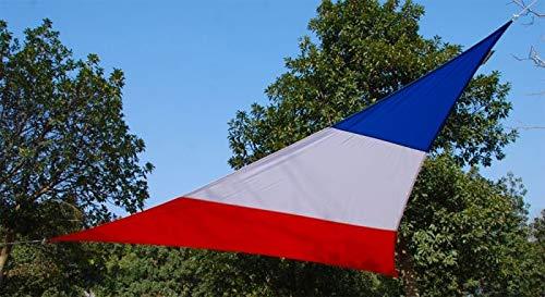 Kookaburra Toldo Vela Impermeable para Exteriores, Patios, Jardines, Terraza, Balcón 98% Anti UV (5m Triangular, Bandera Francesa)
