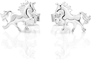 925 Sterling Silver Tiny Prancing Unicorn Horse Pony 5 mm Post Stud Earrings