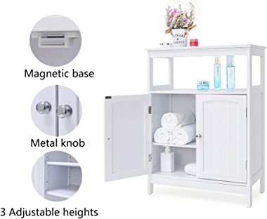 IWELL Bathroom Floor Storage Cabinet with 1 Adjustable Shelf, 3 Heights Available, Free Standing Kitchen Cupboard, Wooden Sto