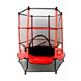 "Oypla 55"" Kids First Trampoline with Safety Net Enclosure & Red Cover Garden"