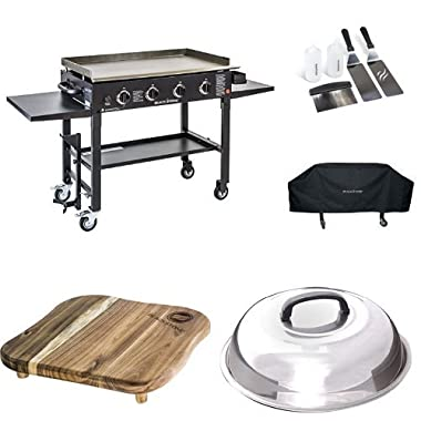 Blackstone 36 inch Outdoor Flat Top Gas Grill Griddle Station Pro Bundle 4-burner Grill, Cover, Accessory Kit, Melting Dome, Cutting Board and Breakfast Kit