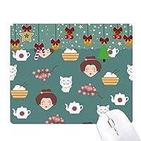 猫のさくら日本米のティーポット ゲーム用スライドゴムのマウスパッドクリスマス