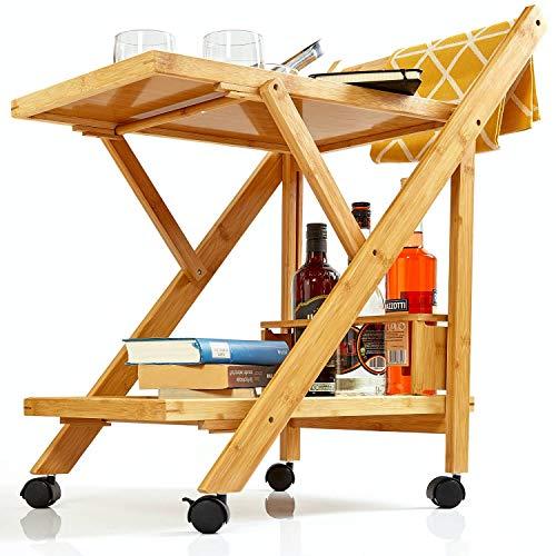 bambuswald© Servierwagen | Küchenwagen aus 100% Bambus - ökologischer Rollwagen inkl. Flaschenhalter ca. 70x40,5x65cm Allzweckwagen Beistellwagen Teewagen