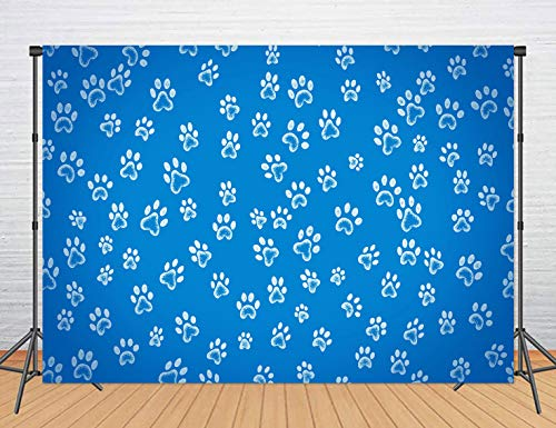 LUCKSTY 5x3ft Dog Footprints Backdrops for Kids Birthday Photography Dog Paw Print Patrol Blue Photo Backgrounds Table Cloth Party Banner Photo Booth Studio Props MBLU29