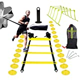InLoveArts Speed ​​Ladder Training Set, Agility Ladder Set, Personal Training Exercise and Strength, Include scaletta agile, paracadute 24 coni a disco, 5 ringhiere regolabili, 4 chiodi, telaio a cono