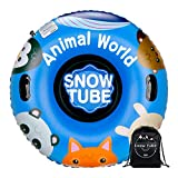 XGEAR 47 Inch Inflatable Snow Tube - Heavy Duty 0.6mm Snow Rider Sled for Kids and Adults, 2 Higher Handles (Animal)