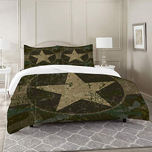 DIIRCYB Duvet Cover Set-Bedding,Camo Grunge Dusty Dirty Design with a Star in Circle Undercover War Theme Army Green,Quilt Cover Bedlinen-Microfibre 140×200CM with 2 Pillowcase 50×80CM