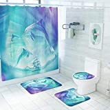Framy Cortina de Ducha de Dolphin Abstracto Cortina de baño a Prueba de Agua Cortina de baño de poliéster, baño Alfombra de baño Alfombra de baño Ocean Mar Ocean Submarino Marina Marina Decoración