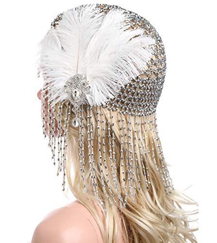 ArtiDeco 1920s Stirnband Damen Gatsby Haar Kette Exotisch Cleopatra Kostüm Accessoires 20er Jahre Flapper Blinkendes Haarband (Silber mit Feder)