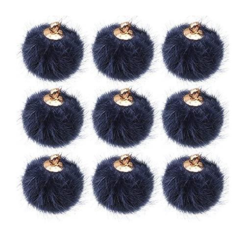 LIXBD - 24 ciondoli a forma di pompon in finto pompon per orecchini e ciondoli a forma di palla (rosa) (colore: blu scuro)