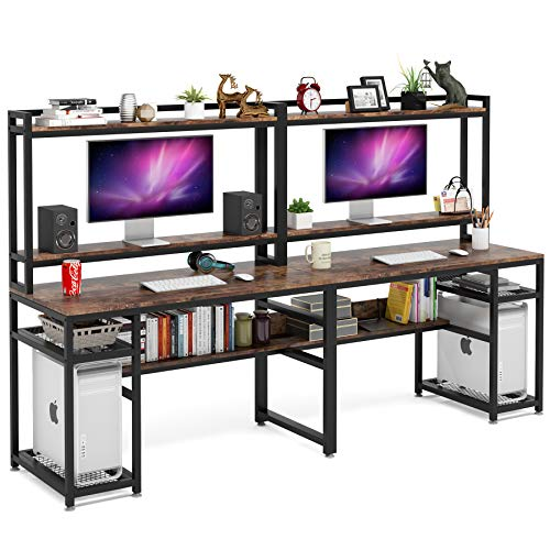 Tribesigns 94.5 inch Extra Long Double Computer Desk with Hutch & Monitor Stand, Large Two Person Desk with Storage Shelves & CPU Stand, Study Writing Table Workstation with Bookshelf for Home Office